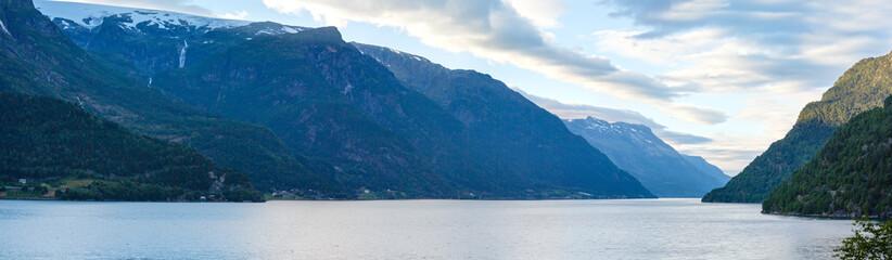 Evening Hardangerfjord panorama.