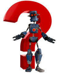 old robot cartoon question mark