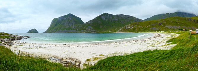 Haukland beach summer view (Norway, Lofoten).