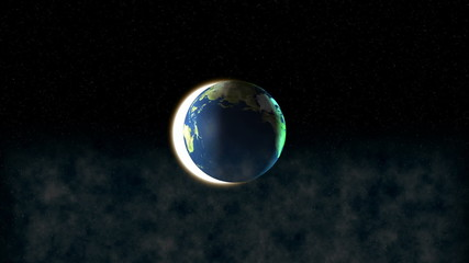 View at earth in space with sun in background