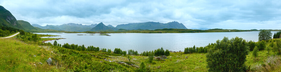 Lofoten summer panorama (Norway).