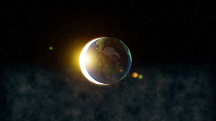 Earth in universe with reflection and small objects around