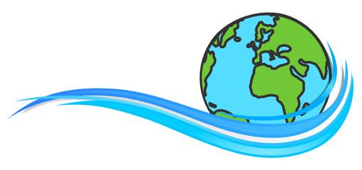 Erde Welle blau