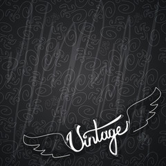 Vintage retro dark background with wings vector