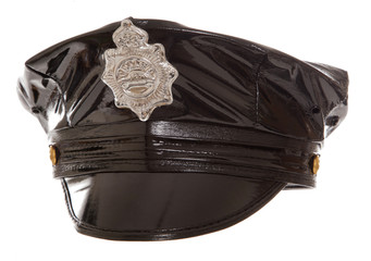 black rubber stripper police hat