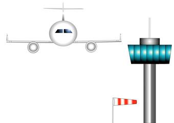 avion et tour de contrôle