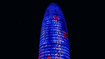 Types of Barcelona. Torre Agbar tower at night.