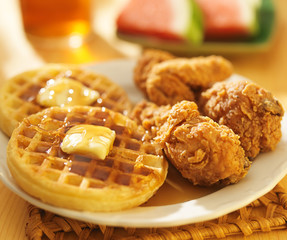fried chicken and waffles with watermelon & sweet tea