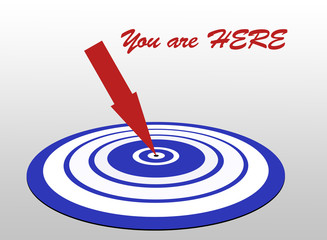 You are here marketing target with arrow