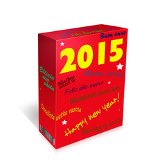 Multi lingual Happy New Year Greetings - box. French, Spanish, W