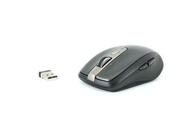 Grey wireless mouse on isolated background