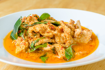 Red savory curry paste with pork and coconut milk (Panaeng)
