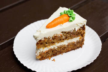 Carrot cake on a white dish
