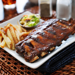 bbq ribs with cole slaw and french fries