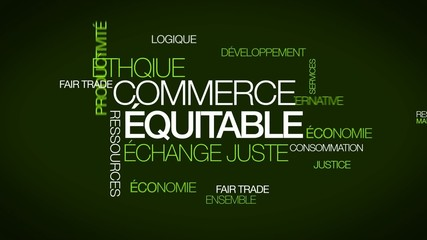 Commerce équitable Fair trade nuage de mots tag cloud