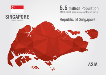 Singapore world map with a pixel diamond texture.