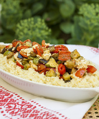 Peppers, feta cheese and couscous