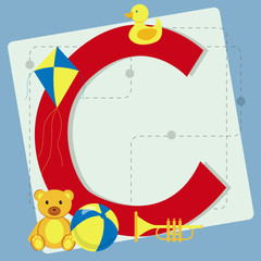 "Letter ""c"" from stylized alphabet with children's toys"