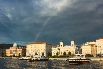 rainbow on the docks of Trieste