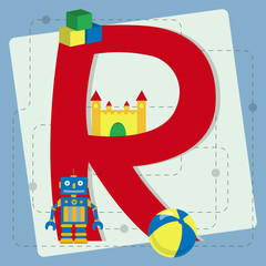 "Letter ""r"" from stylized alphabet with children's toys"