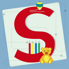 "Letter ""s"" from stylized alphabet with children's toys"