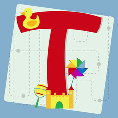"Letter ""t"" from stylized alphabet with children's toys"