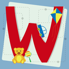 "Letter ""w"" from stylized alphabet with children's toys"
