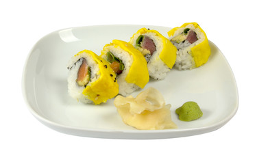 Sushi with scrambled eggs