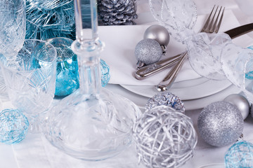 Stylish blue and silver Christmas table setting