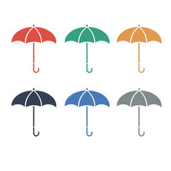 Umbrellacolor flat icon color set