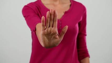 Woman showing stop by body language video