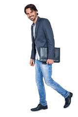 Handsome stylish man carrying a briefcase