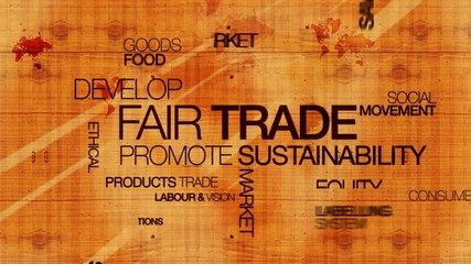 Fair trade commerce equitable wood words text tag cloud