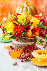 basket of autumn flowers