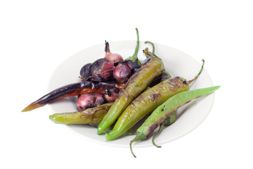 Grilled vegetables on plate