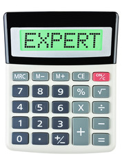 Calculator with EXPERT on display isolated on white background