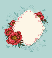 Label and red peony