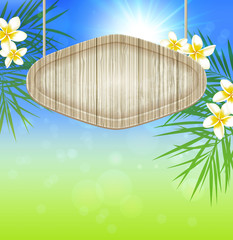 Summer background with wooden banner
