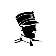 retro military officer vector silhouette