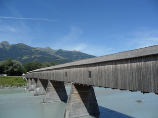 The old wooden bridge border Switzerland and Liechtenstein