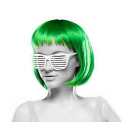 Woman wearing blinder shutter shades