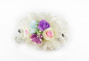 flower hair pins on white background
