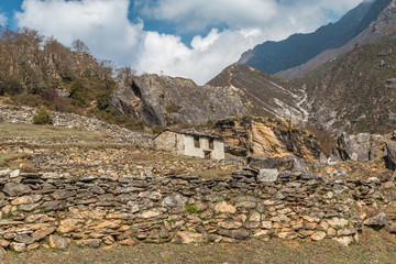 Stone House in Himalayas Nepal