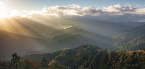 Cévennes - Couché de soleil sur les vallées Cévenoles
