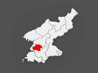 Map of Pyongyang Chikhalsi. North Korea.