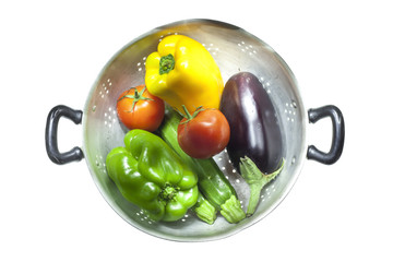 Colander with vegetables