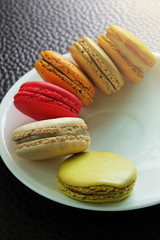 Colorful Macarons in the dish