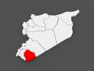 Map of Sweida. Syria.