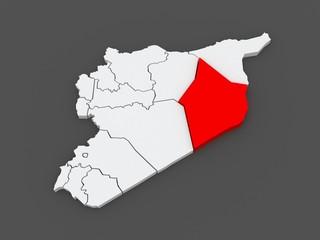 Map of Deir ez-Zor. Syria.