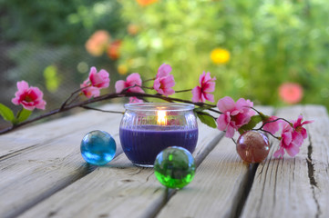 Spa candles flowers